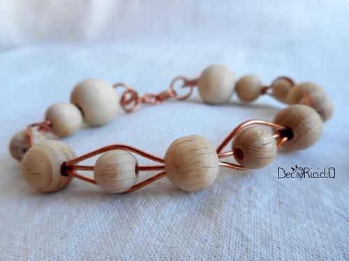 bracciali e orecchini rame - perle di legno 2-001