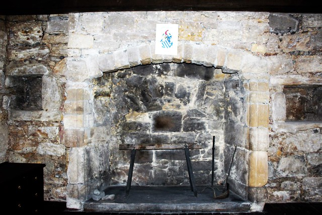 Interior fireplace at Gilnockie Tower, Scottish Borders.