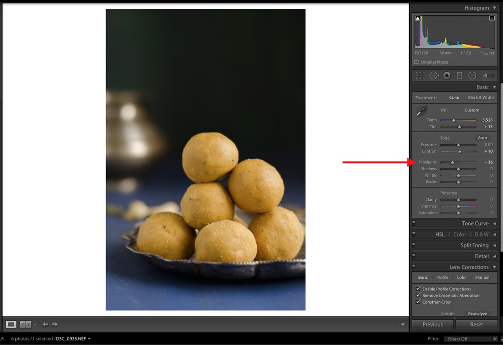 Highlights, Lightroom Highlights, Lightroom Tutorial for Food photos, Lightroom tutorial, Editing RAW files in Lightroom,  Lightroom Food Tutorial, How to edit food photos in Lightroom,