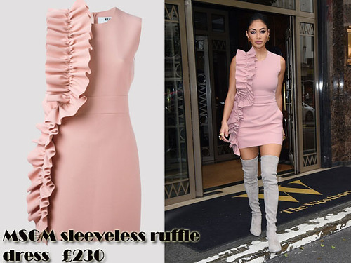 Pink sleeveless ruffle mini dress with grey thigh high suede boots