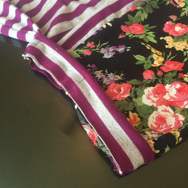 Stripes and Floral Dress Refashion - In Progress