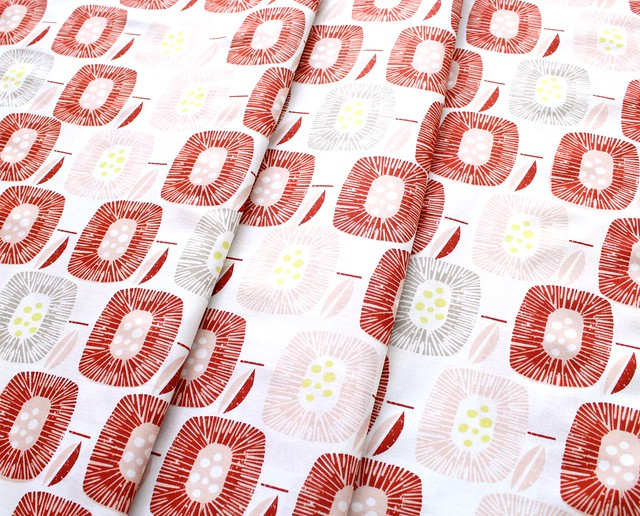 Cloud9 Fabrics Around The Block 157506 Block Blooms Red