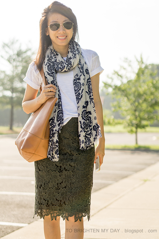 blue floral scarf, white tee, olive green lace pencil skirt, cognac brown tote