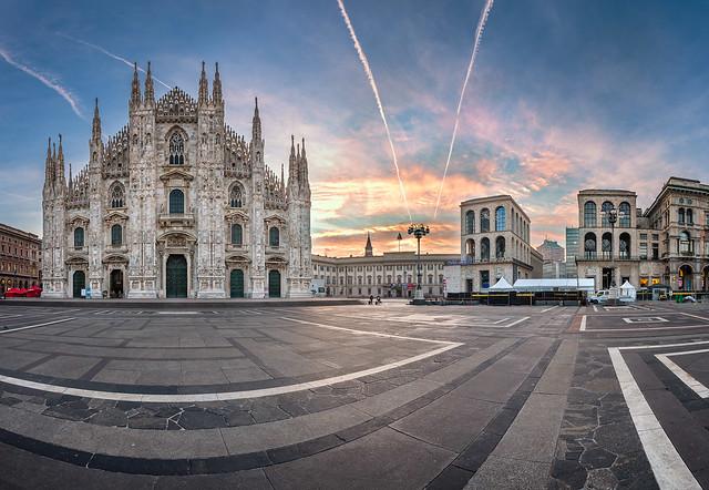 Panorama of Milan Cathedral (Duomo di Milano), Vittorio Emanuele II Gallery and Piazza del Duomo in Milan, Italy