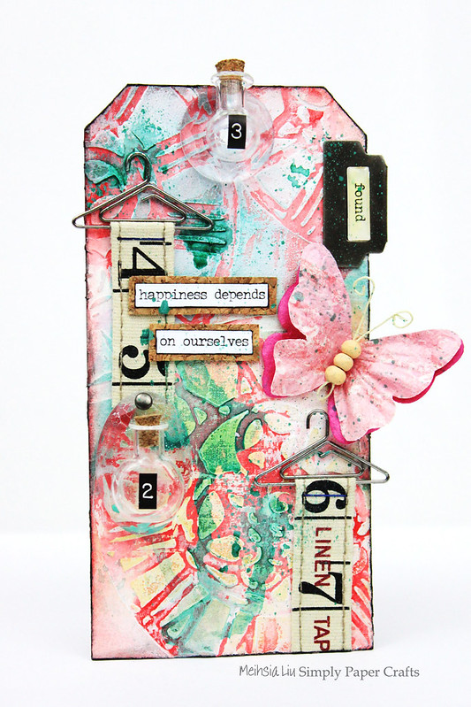Meihsia Liu Simply Paper Crafts Mixed Media Tag Tiny Bottle Simon Says Stamp Monday Challenge Tim Holtz 1