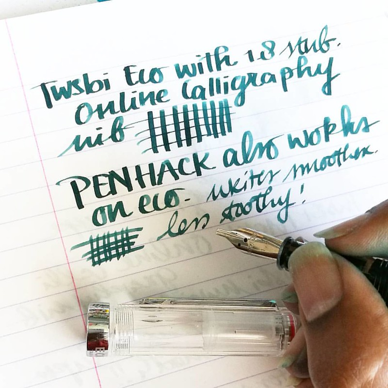 And yes, the penhack with the online calligraphy nibs also works on the TWSBI eco (see my previous post) Super fun!! These nibs are less 'toothy' than the TWSBI ones and write super wet and smooth! #penhack #twsbieco #twsbiecohack #fpn #fountainpennetwork