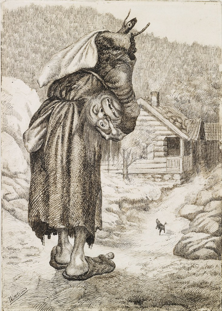 "Theodor Kittelsen - The old Hag with Her Head under Her Arm (""Butterball"") 1883"