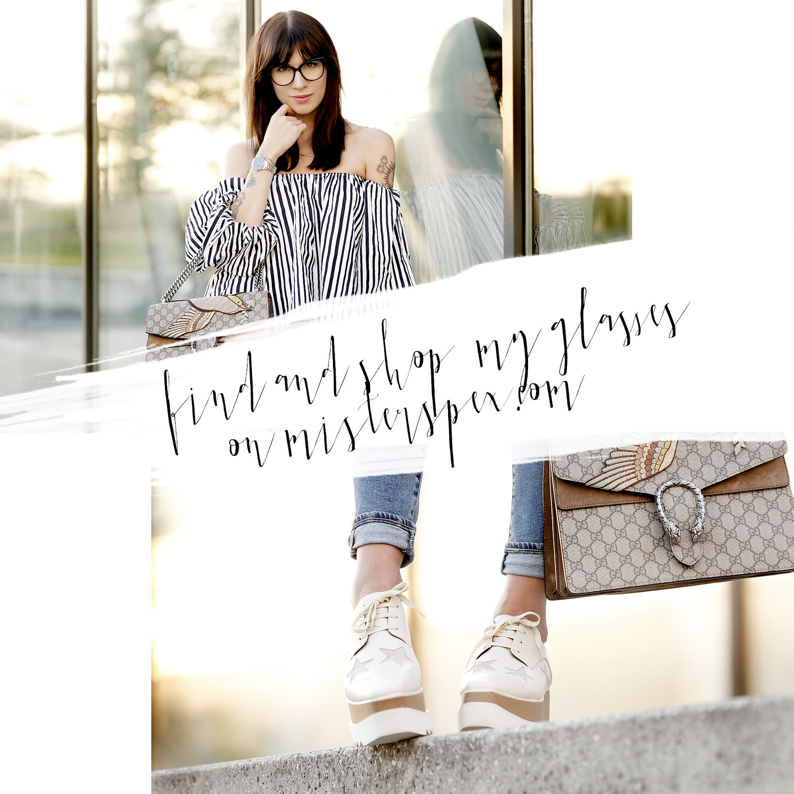 blogger for mister spex glasses collection launch september bloggercollection design cats & dogs fashion style blog ricarda schernus modeblogger off shoulder striped top gucci dionysus bag stella mccartney platform shoes ootd lookbook onlineshop brille 2