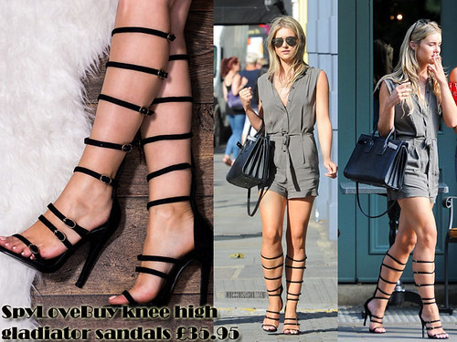 Khaki playsuit with knee high gladiator sandals