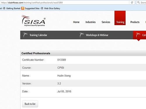 Listed on SISA website