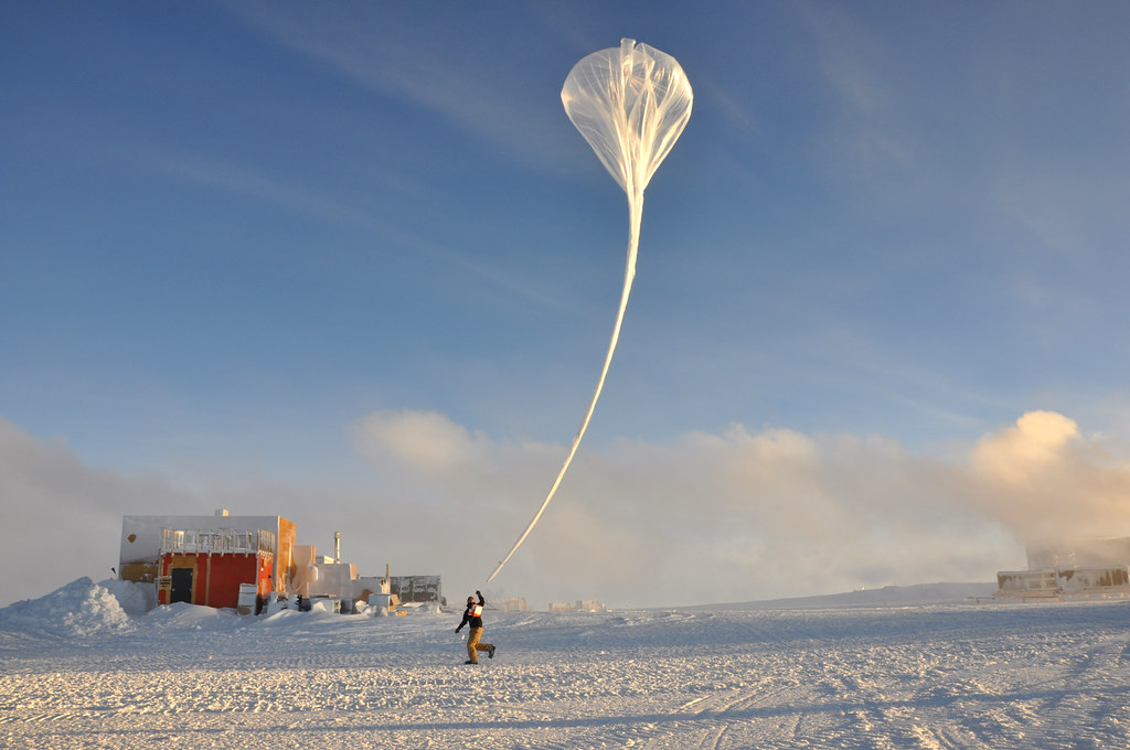 Launching an ozonesonde at the Amundsen Scott station at the South Pole.