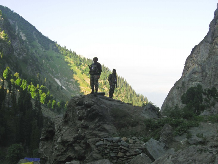 Indian Army at Pissu Top during Amarnath Yatra 2016, Jammu and Kashmir, India
