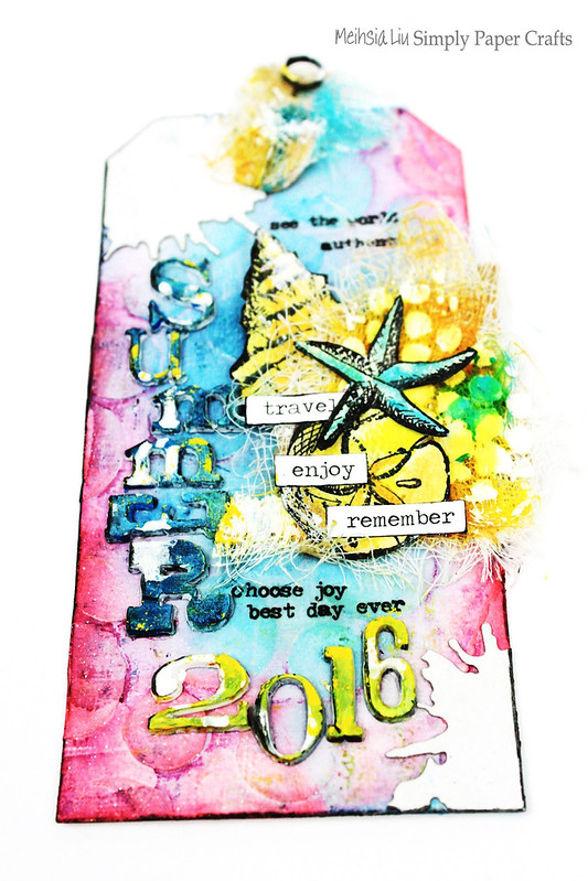 Meihsia liu simply paper crafts mixd media tag smmer tim holtz Simon Says stamp Monday challenge