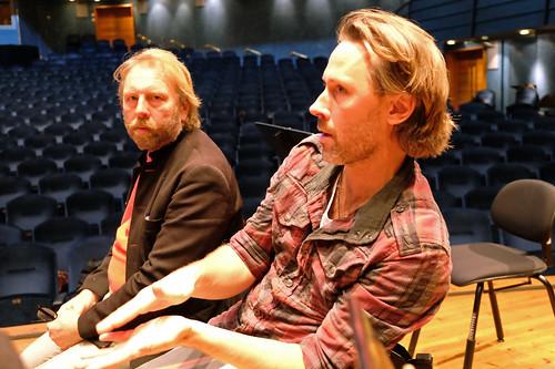 Peter Bryngelsson och dirigenten Fredrik Burstedt