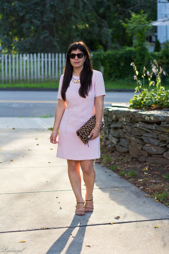 pink sheath dress, clair v leopard clutch, gorjana vista cuff.jpg