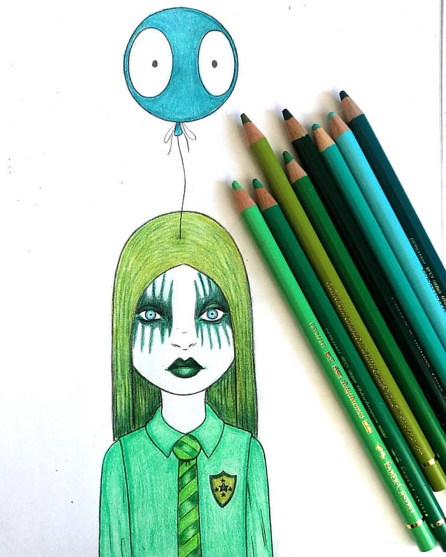 Am slowely recovering, not much energy for something other creative than coloring. #polychromos #fabercastell #taramcpherson #overtherainbow #greenhues #kleurpotloden #kleurenvoorvolwassenen #coloringbook #colorpencil #coloring #pencil