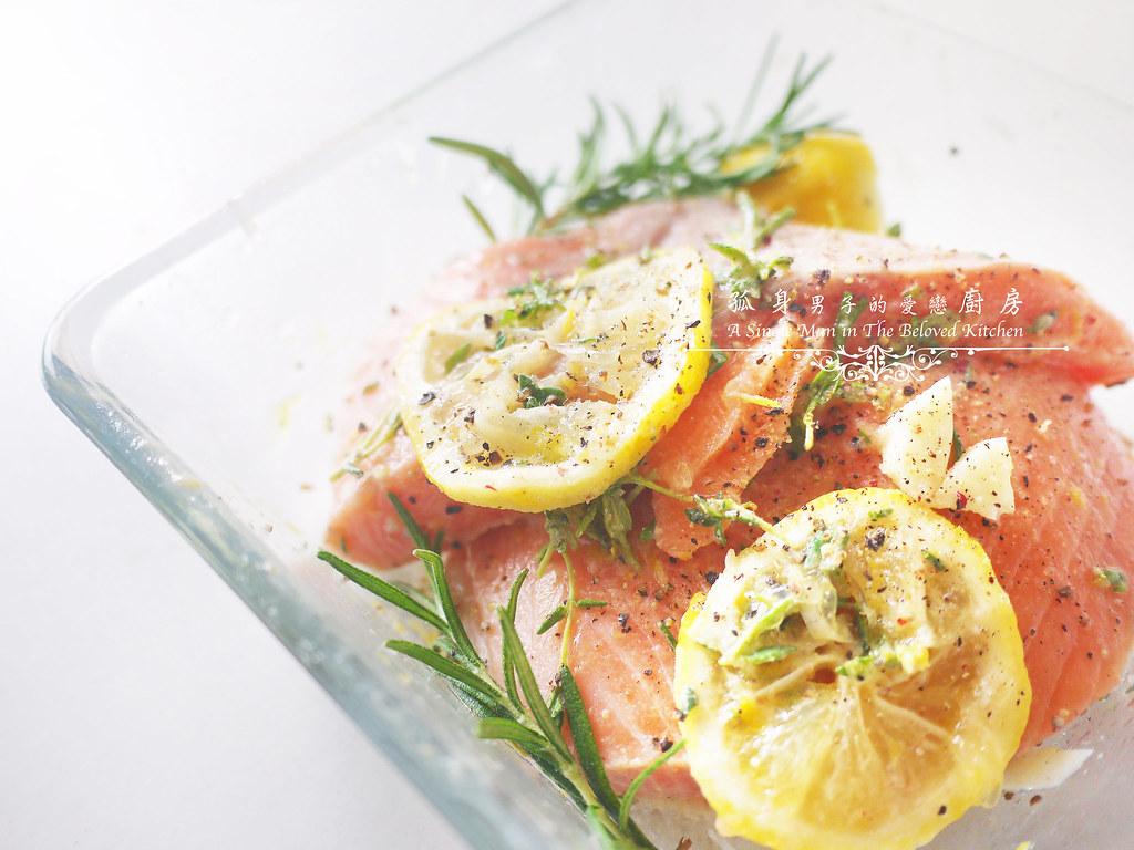 孤身廚房-烤鮭魚排佐香料烤南瓜及蒜香皇宮菜2