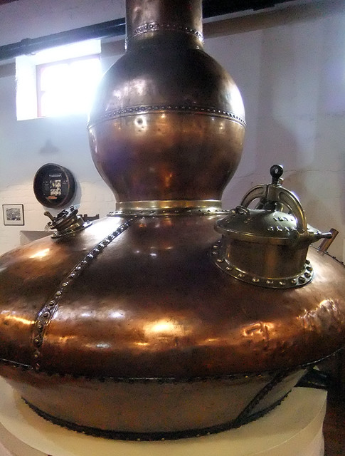 Copper kettle at the Bushmills Distillery in Ireland, UK