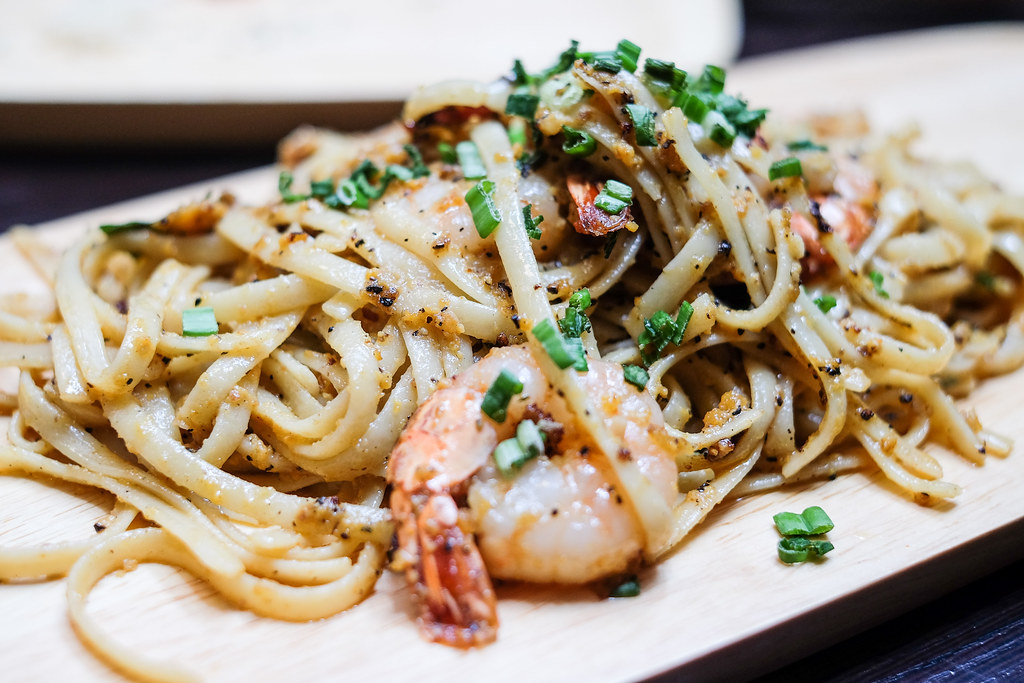 Gills N Shells: Salted Egg Pasta with Tiger Prawns