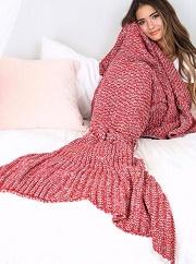 Red Soft Mermaid Blanket Crochet Mermaid Tail