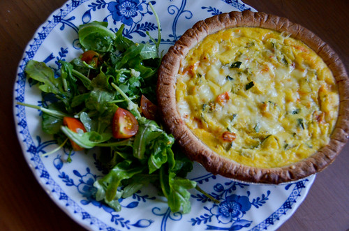 Zucchini & Cherry Tomato Quiches with Tomato-Arugula Salad