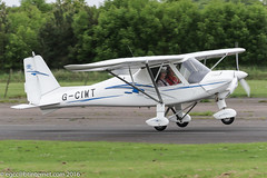 G-CIWT - 2015 build Comco Ikarus C42 FB80, arriving at Eshott during the 2016 Great North Fly-in