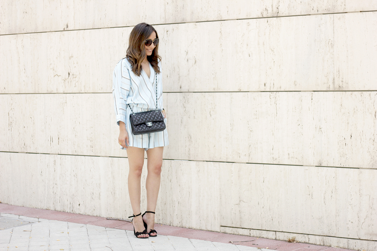Maje Jumpsuit with stripes black heels chanel bag summer outfit street style fashion01