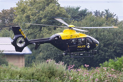 G-SUFK - 2008 build Eurocopter EC135 P2+, departing after a brief visit to the Police ASU at Barton