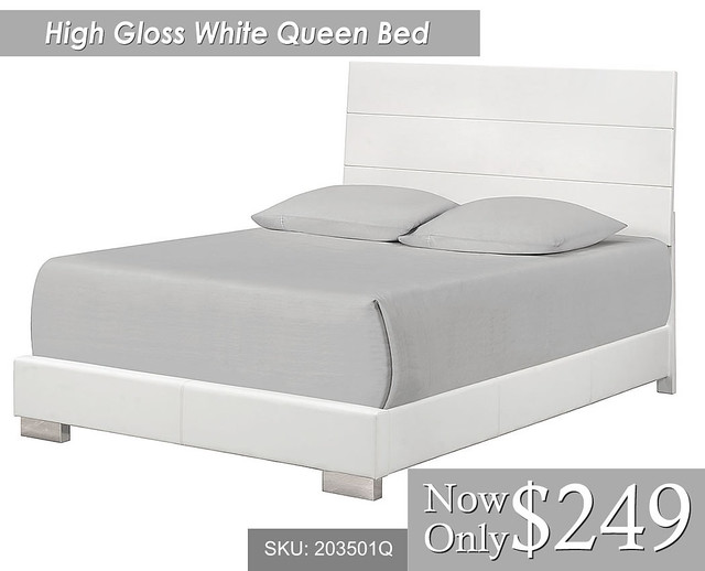 High Gloss White Queen Size Bed