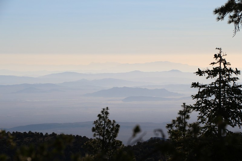 Zoomed-in view over the Mojave Desert as the morning haze begins to form, from the PCT at mile 271