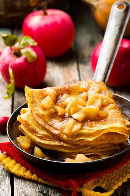 pumpkin crepes with cinnamon apples