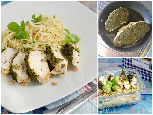 Pesto-Glazed Chicken Breast with Spaghetti Collage