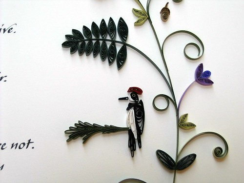 Quilled Marriage Certificate - Acorn Woodpecker
