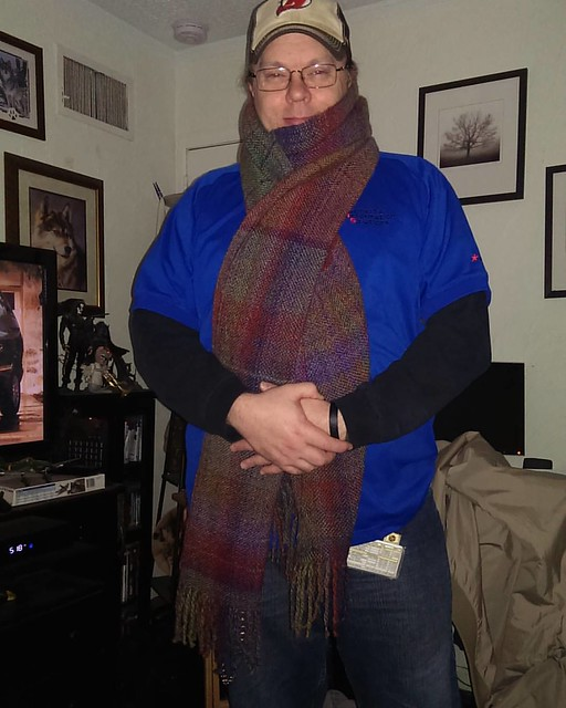 Today's #prompt is why, for the #ctmonthinthelife  #igchallenge  by @createandthrive    This is a perfect example of why I do what I do- my husband thoroughly pleased with his 4th Doctor-esque #handwoven #scarf .  It's roughly 12 feet long and he proclaim