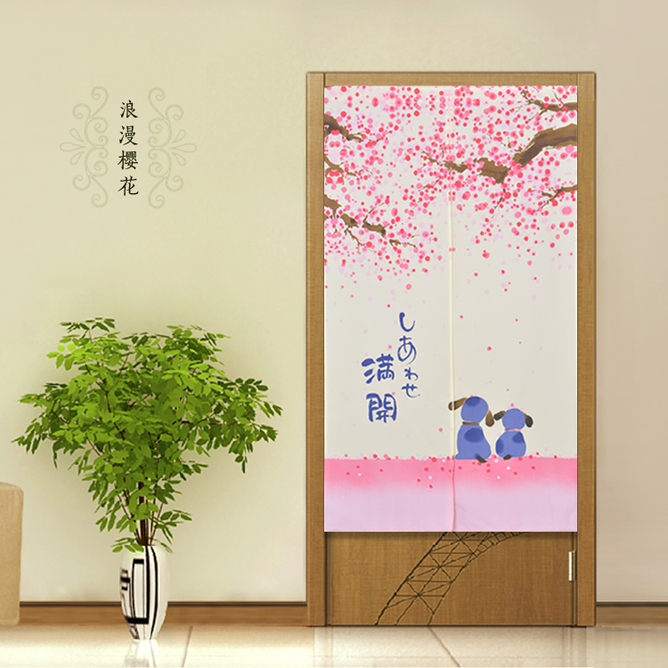 Door Curtain Fengshui Japanese Flower Door Cloth Curtain