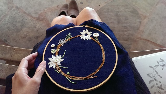 embroidering outdoors