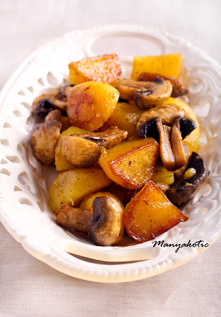 Roasted potato and mushroom