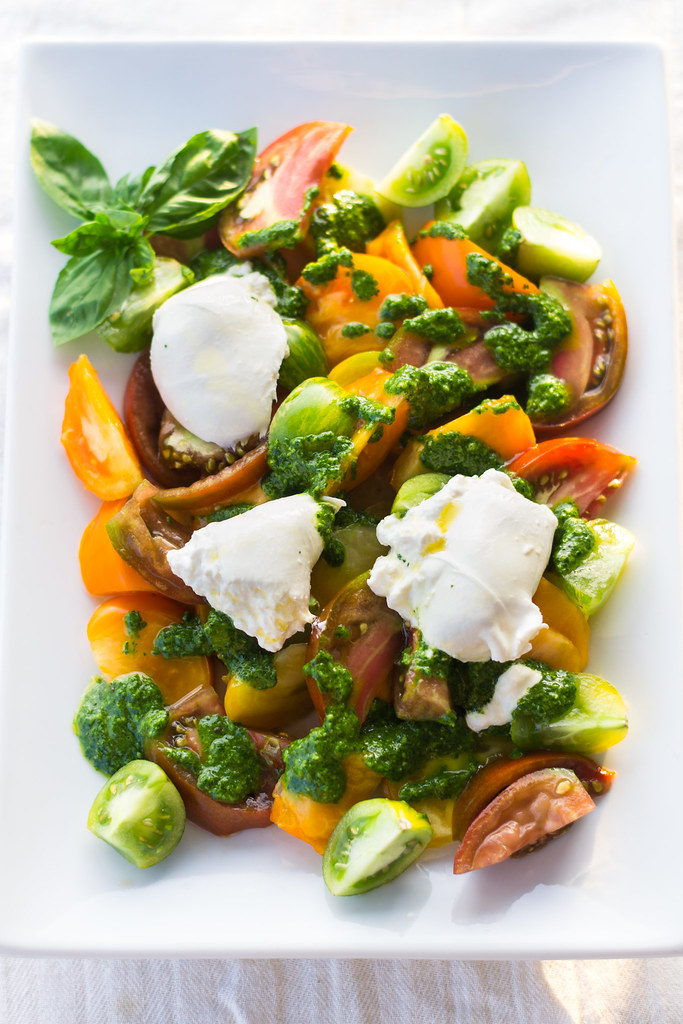 Heirloom Tomato Salad with Herb Oil and Burrata