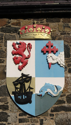 A shield from the Dunluce Castle Museum in Northern Ireland, UK