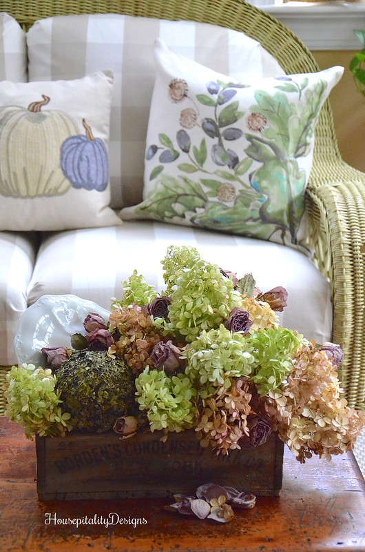 Dried Hydrangea arrangement - Sunroom - Housepitality Designs