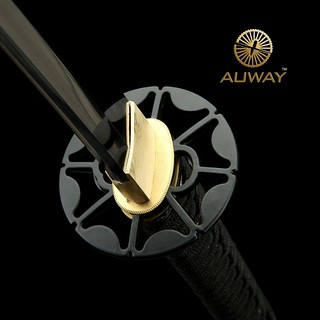 Auway-samurai-sword-Octagon-Tsuba-Black-scabbard-5