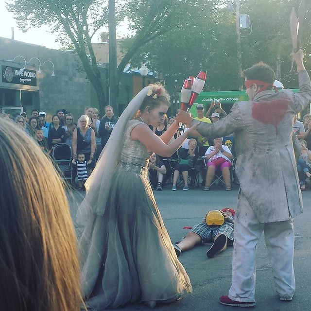We went down to the Fringe in town a couple times this last week and saw some good shows, the @undeadnewlyweds were definitely our favorite act though! 💀 #yxefringe