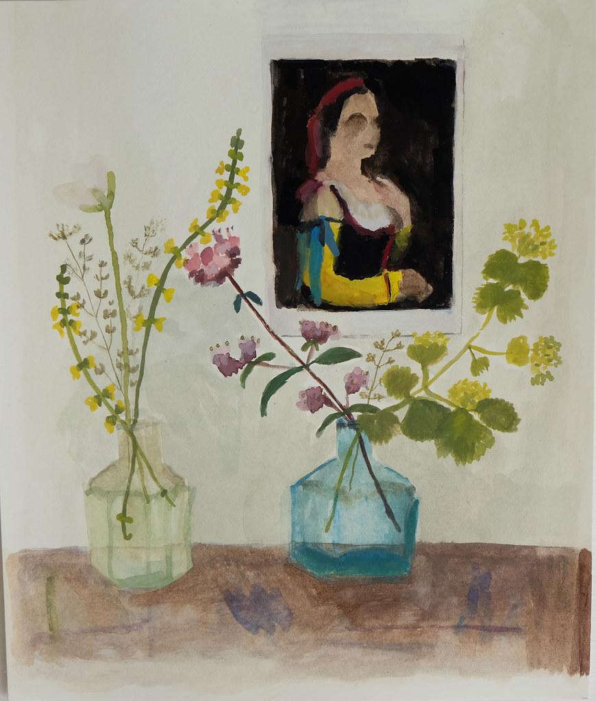 summer flora & a postcard (Corot portrait)