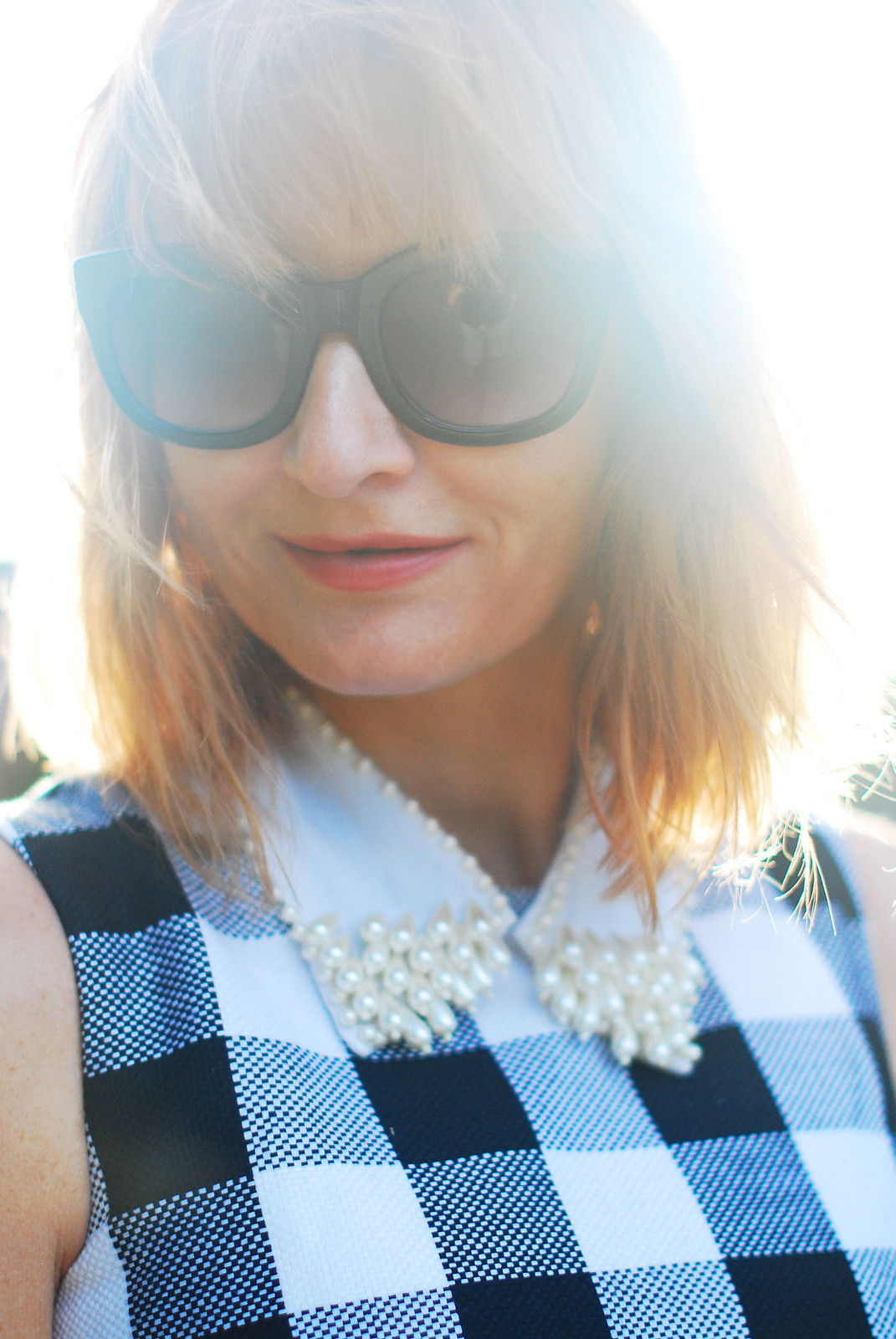Classic summer dressing: Bardot-style gingham dress, pearl embellished collar, cat eye sunglasses | Not Dressed As Lamb