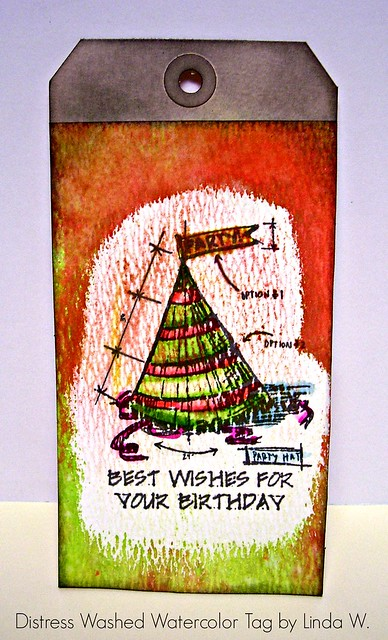 Distress Washed Watercolor Tag