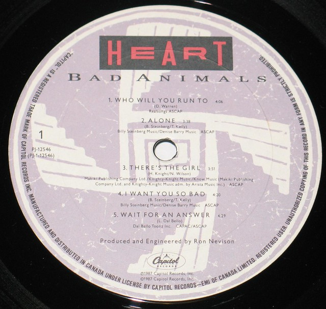 "Heart Bad Animals canada 12"" Vinyl LP"