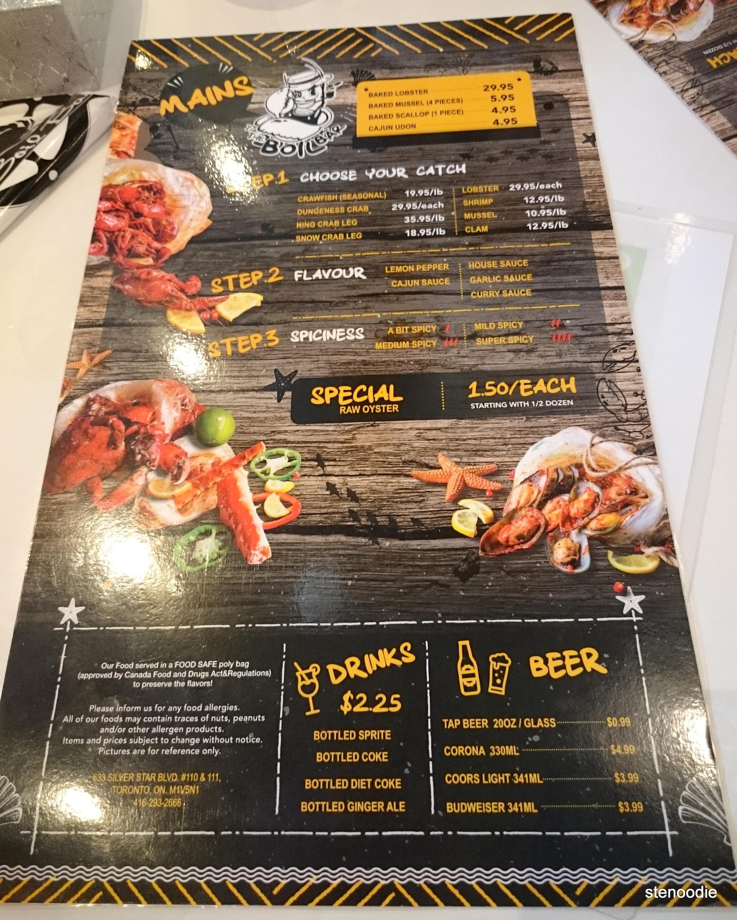 Boil Bar menu