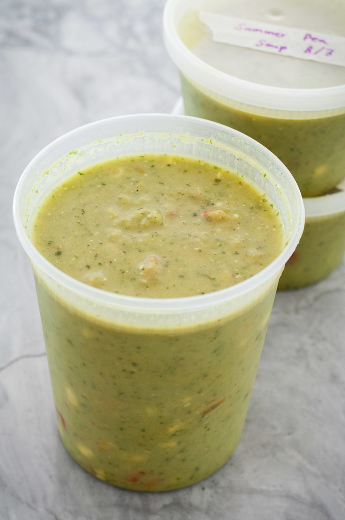 Summer split pea soup pureed smooth, dotted with