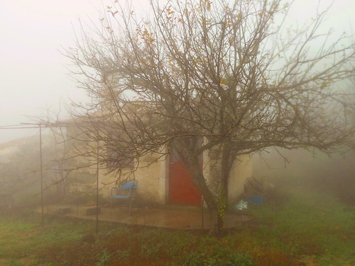 Cabin in the fog on the mt plateau. Wind, fog and moisture, loneliness and nature preponderant, winter is so different from summer in Ikaria. Look at the two rows of photos in Eleni's blog article - 'The Two Sides'