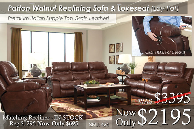 Patton Walnut Reclining Living Set